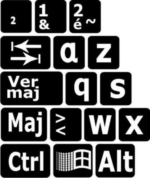Autocollant lettres contrastées pour clavier informatique