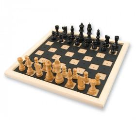 Jeu d'échecs bois avec repères tactiles